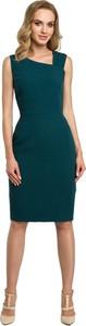 Zielona sukienka MOE z tkaniny ołówkowa midi