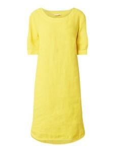 Żółta sukienka 0039 Italy z lnu