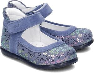 Niebieskie balerinki EMEL na rzepy z zamszu