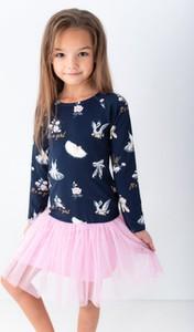 Granatowa sukienka dziewczęca Lily Grey z tiulu