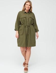 Zielona sukienka V by Very mini koszulowa z długim rękawem
