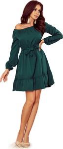 Zielona sukienka NUMOCO z długim rękawem z dekoltem w łódkę