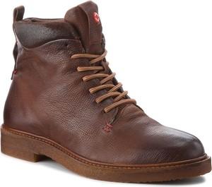 Brązowe buty zimowe Nobrand w militarnym stylu ze skóry