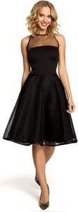 Czarna sukienka Made Of Emotion z okrągłym dekoltem midi rozkloszowana