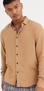 Brązowa koszula Asos z klasycznym kołnierzykiem