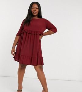 Czerwona sukienka Yours koszulowa z długim rękawem