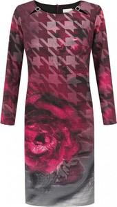 Różowa sukienka POTIS & VERSO z długim rękawem w stylu casual midi