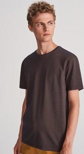 Brązowy t-shirt Reserved z dzianiny z krótkim rękawem