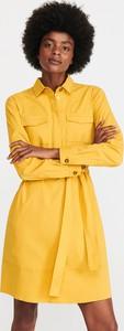 Żółta sukienka Reserved w stylu casual szmizjerka mini