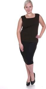 Czarna bluzka Fokus w stylu klasycznym bez rękawów z dzianiny