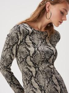 Brązowa sukienka Sinsay z długim rękawem w stylu casual