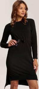 Czarna sukienka Renee z długim rękawem mini z okrągłym dekoltem