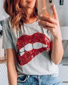 T-shirt Kendallme w młodzieżowym stylu z bawełny z krótkim rękawem