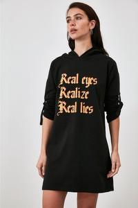 Czarna sukienka Trendyol z dekoltem w kształcie litery v mini