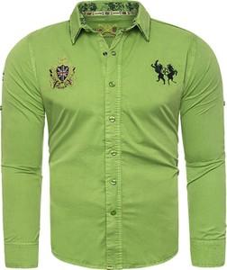 Zielona koszula Risardi z długim rękawem