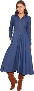Sukienka Lanti koszulowa maxi z długim rękawem