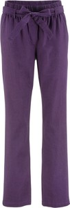 Fioletowe spodnie bonprix bpc bonprix collection z lnu