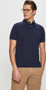 Niebieski t-shirt POLO RALPH LAUREN z krótkim rękawem w stylu casual z dzianiny