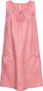 Różowa sukienka bonprix BODYFLIRT oversize z lnu w stylu casual
