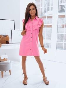Różowa sukienka Dstreet z bawełny z kołnierzykiem