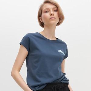 Granatowy t-shirt Reserved w stylu casual