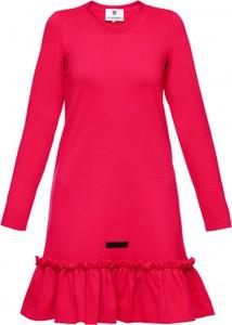 Różowa sukienka Yuliya Babich mini z okrągłym dekoltem w stylu casual