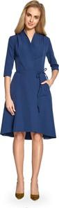 Niebieska sukienka Style z długim rękawem z dekoltem w kształcie litery v
