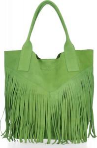 Zielona torebka VITTORIA GOTTI z zamszu duża zamszowa