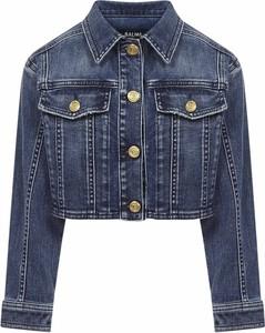 Granatowa kurtka dziecięca Balmain z jeansu