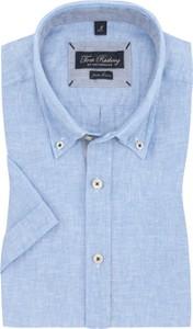 Niebieska koszula Tom Rusborg z lnu z kołnierzykiem button down z krótkim rękawem