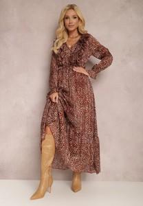 Brązowa sukienka Renee maxi z tkaniny z dekoltem w kształcie litery v