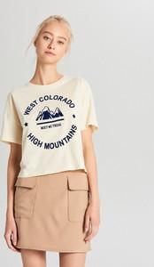 T-shirt Cropp w stylu casual z nadrukiem z krótkim rękawem