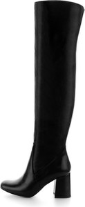 Czarne kozaki Prima Moda na zamek ze skóry za kolano
