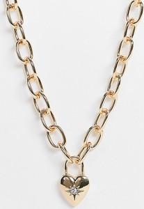 Reclaimed Vintage Inspired – Naszyjnik z grubego łańcuszka w kolorze złota z zawieszką w kształcie serca-Złoty