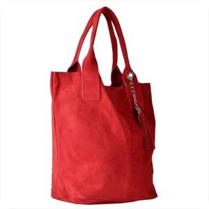 Czerwona torebka Borse in Pelle na ramię z zamszu z frędzlami