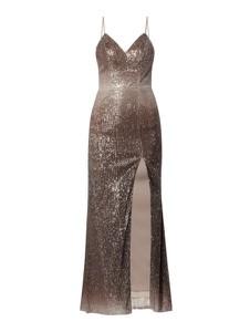 Złota sukienka Unique maxi na ramiączkach