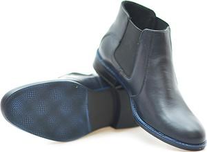 Granatowe buty zimowe Pan ze skóry