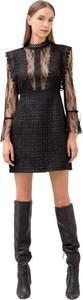 Czarna sukienka Fracomina z długim rękawem z tkaniny dopasowana