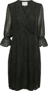 Czarna sukienka Part Two z dekoltem w kształcie litery v mini z długim rękawem