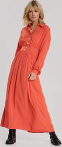 Pomarańczowa sukienka Renee w stylu casual z dekoltem w kształcie litery v maxi