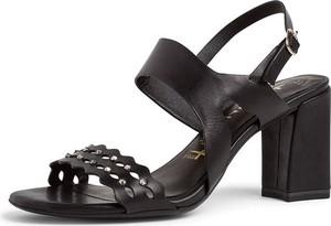 Sandały Tamaris ze skóry w rockowym stylu na średnim obcasie