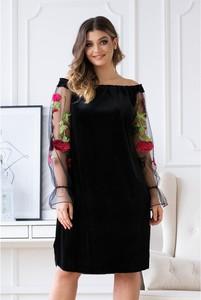 Sukienka Sklep XL-ka mini z długim rękawem z weluru