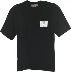 Czarny t-shirt Plan C z okrągłym dekoltem z krótkim rękawem