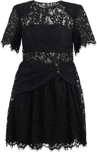 Czarna sukienka Self Portrait mini z okrągłym dekoltem z krótkim rękawem