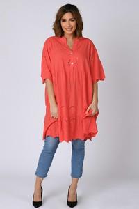 Czerwona sukienka Plus Size Company z długim rękawem mini z bawełny