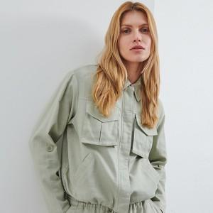 Zielona kurtka Reserved z bawełny krótka
