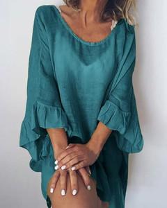 Sukienka Kendallme z długim rękawem mini z bawełny