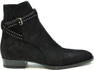 Czarne buty zimowe SAINT LAURENT z zamszu