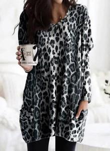 Bluzka Cikelly w stylu casual z dekoltem w kształcie litery v z długim rękawem