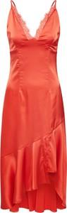 Pomarańczowa sukienka Missguided z dekoltem w kształcie litery v na ramiączkach mini